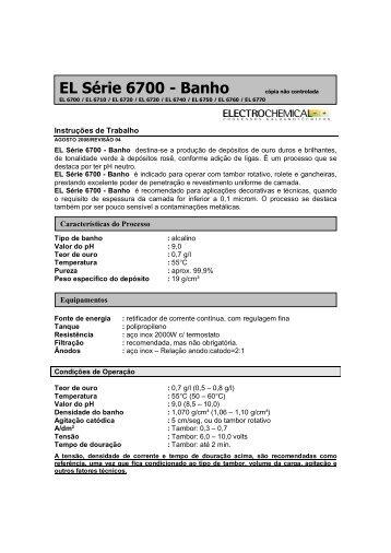 EL Série 6700 - Banho cópia não controlada - Electrochemical