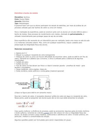 Eletrólise e banho de metais - Portal do Professor