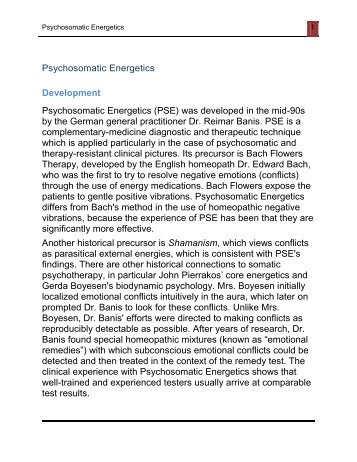 Psychosomatic Energetics Development Psychosomatic ... - IGPSE