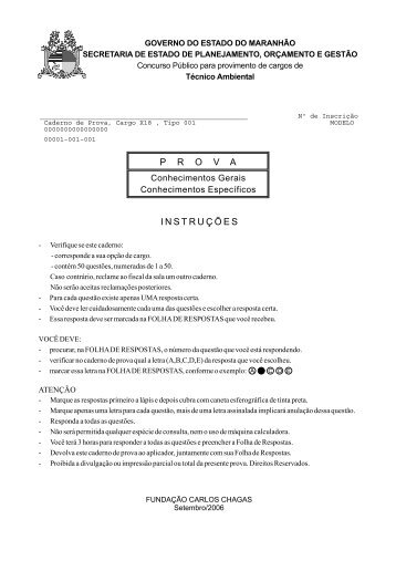 Prova - Técnico Ambiental - Tipo 1 - Central de Concursos