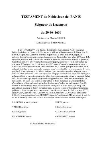 TESTAMENT de Noble Jean de BANIS Seigneur de Luzençon du ...