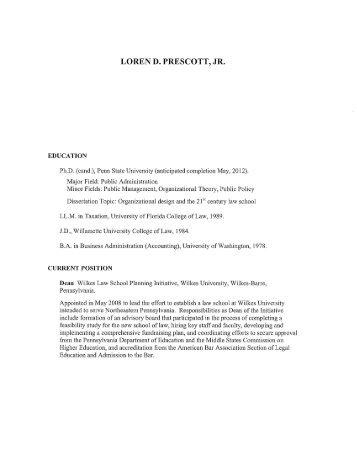 LOREN D. PRESCOTT, JR. - Wilkes University