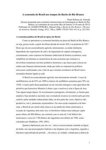 A economia do Brasil nos tempos do Barão do Rio Branco (livro ...