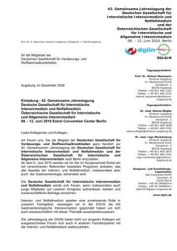 Einladung - 42. Gemeinsame Jahrestagung Deutsche ... - DGVS