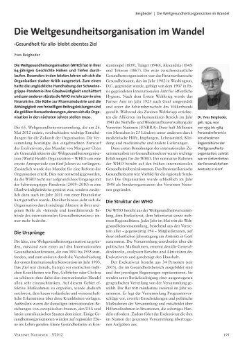 Die Weltgesundheitsorganisation im Wandel - Deutsche  ...