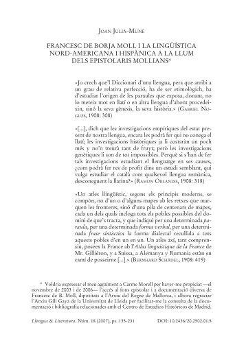 FRANCESC DE BORJA MOLL I LA LINGÜÍSTICA NORD ... - Raco
