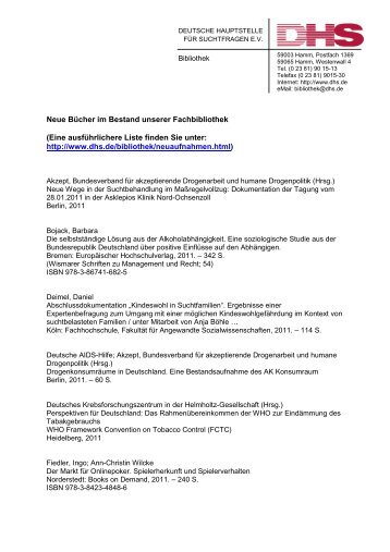 Neue Literatur 08_2011 - Deutsche Hauptstelle für Suchtfragen e.V.