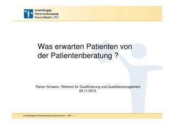 Ratsuchende der Unabhängigen Patientenberatung