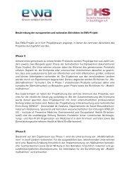 Beschreibung der europaweiten und nationalen Aktivitäten