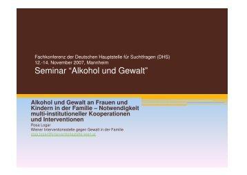 """Seminar """"Alkohol und Gewalt"""" - Deutsche Hauptstelle für ..."""