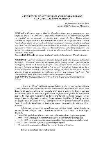 A influência de autores estrangeiros em Lobato e a ... - GELNE