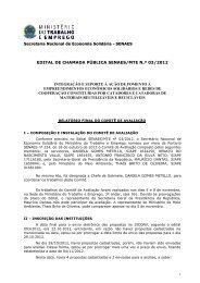 Relatorio de Avaliação - Ministério do Trabalho e Emprego