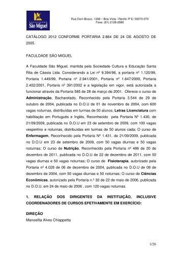 Catálogo 2012 - Faculdade São Miguel