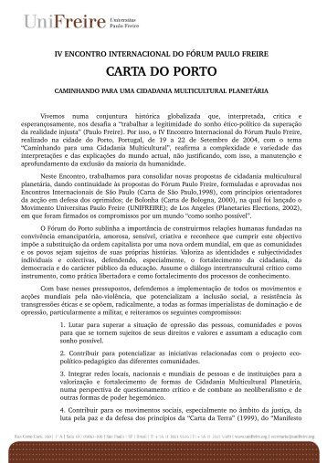 CARTA DO PORTO - Instituto Paulo Freire