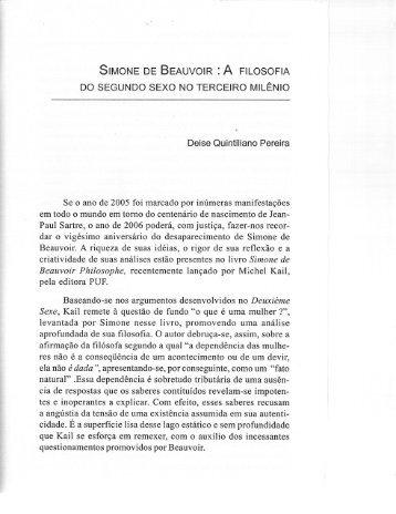 SEMONE DE BEAUVOIR :A FILOSOFIA Do SEGUNDO sExo No ...