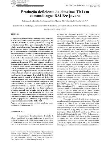 Produção deficiente de citocinas Th1 em camundongos BALB/c ...