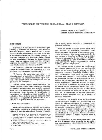 prioridades em pesquisa educacional - Educ - Fundação Carlos ...
