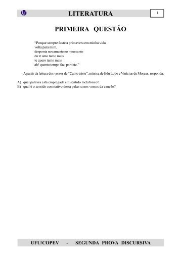 ufu/copev - segunda prova discursiva literatura primeira questão