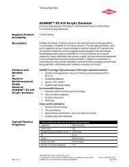 AVANSE ST-410 Acrylic Emulsion - The Dow Chemical Company