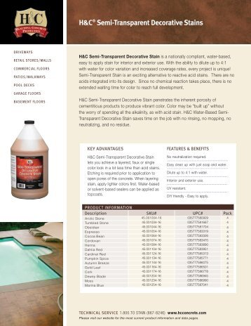 Semi-Transparent Stain Sell Sheet - H&C Concrete