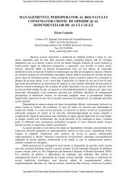 Management perioperator consumator cronic de opioide - Asociatia ...
