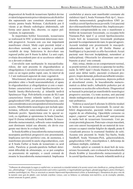 BOLILE DE TEZAURIZARE LIZOZOMALÅ - medica.ro