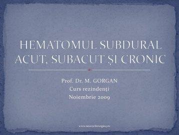 HEMATOMUL SUBDURAL ACUT, SUBACUT, CRONIC