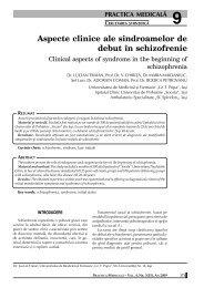 Aspecte clinice ale sindroamelor de debut în schizofrenie - medica.ro