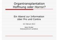 Organtransplantation, Hoffnung oder Horror? (1.06 Mb) - Dialyse-la.de
