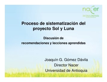 Proceso de sistematización del proyecto Sol y Luna - Portal ...