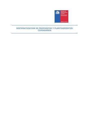 Sistematización de Propuestas y Planteamientos ciudadanos - Sence