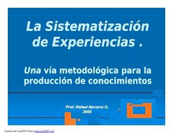 La Sistematización de Experiencias .