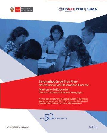 Sistematización del Plan Piloto de Evaluación del Desempeño ...