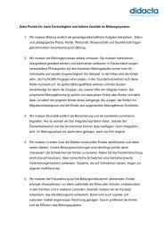 Zehn Punkte für mehr Gerechtigkeit und höhere Qualität im ... - Didacta
