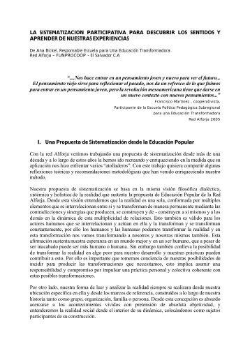 LA SISTEMATIZACION PARTICIPATIVA PARA DESCUBRIR LOS ...