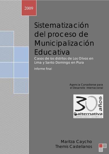 Sistematización del proceso de municipalización ... - Alternativa