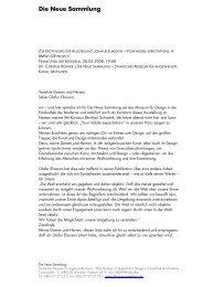 Textmaterial Eröffnung - Die Neue Sammlung