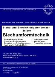 Blechumformtechnik - Deutsches Industrieforum für Technologie