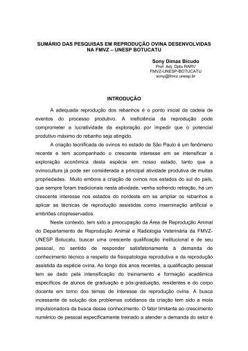 BICUDO, S.D. Sumário de pesquisas desenvolvidas na FMVZ