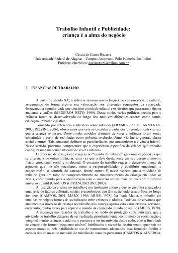 117. TRABALHO INFANTIL E PUBLICIDADE - Abrapso