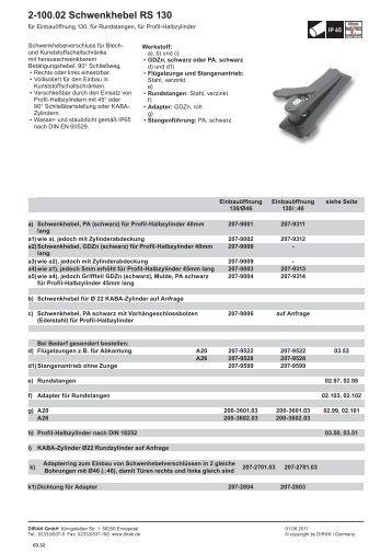 2‑100.02 Schwenkhebel RS 130