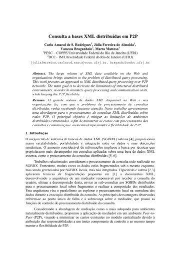 Consulta a bases XML distribuídas em P2P - DCC - UFRJ