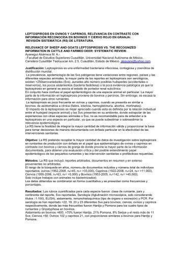 LEPTOSPIROSIS EN OVINOS Y CAPRINOS, RELEVANCIA EN ...