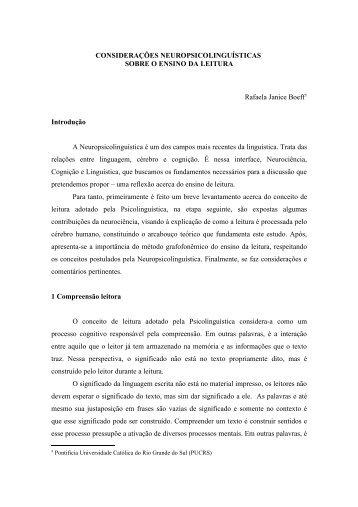 considerações neuropsicolinguísticas sobre o ensino da leitura - pucrs