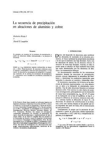 La secuencia de precipitación en aleaciones de aluminio y cobre