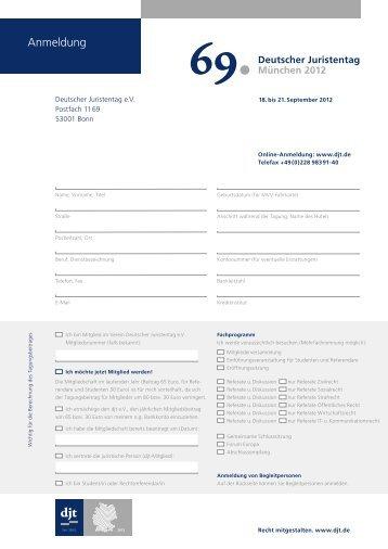 Anmeldung 69. djt - Deutscher Juristentag