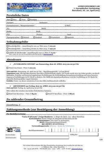 Anmeldeformular - Deutscher Juristentag
