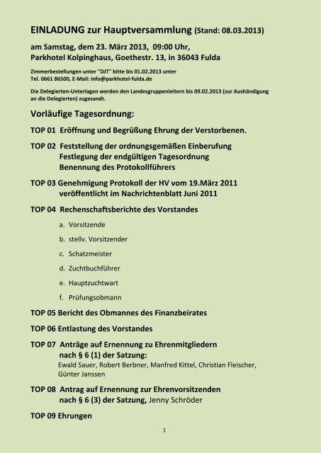 Hauptversammlung Deutscher Jagdterrier Club Ev