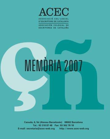 Memòria 2007 - Associació Col·legial d'Escriptors de Catalunya