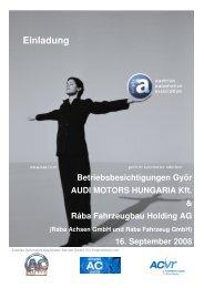 Betriebsbesichtigungen Györ AUDI MOTORS HUNGARIA Kft. & Rába